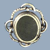 English Victorian 9k Gold Swivel Woven Brooch