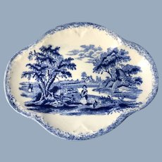 Blue and White Transfer Pin Tray.  C.1880