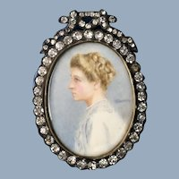 C. 1920 English Miniature Watercolor Signed Portrait Painting of a Lady