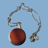 English Silver Carnelian Stone Necklace