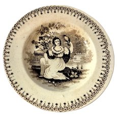 C. 1865 English Toy Brown and White Transfer Plate