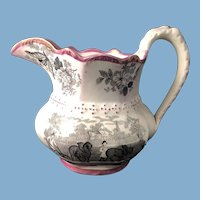English Victorian Lusterware Transfer Ware Jug