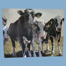 """Oil Painting """"Dairy Line Up"""" by Heather Foster"""