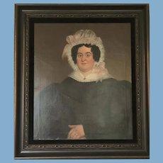 19th Century Oil on Panel of Woman