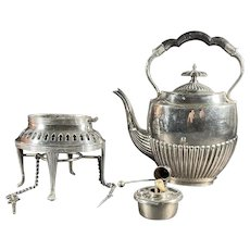 19th C. English Silver Plate Tipping Tea Pot