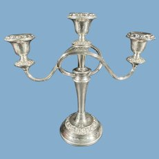 Ianthe of England Silver Plate Three-Arm Candelabra C.1950
