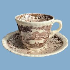 English Masons Brown and White Transfer Ware Cup and Saucer