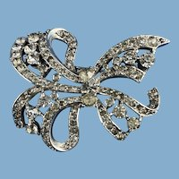English Rhinestone Bow Brooch