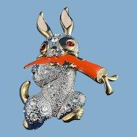 Spring Brooch of a Happy Rabbit