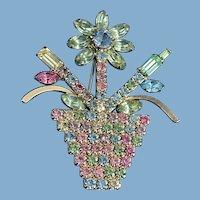 Rhinestone Spring Flower Pot Brooch