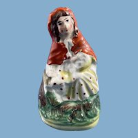 Victorian English Staffordshire Porcelain Red Riding Hood Figurine