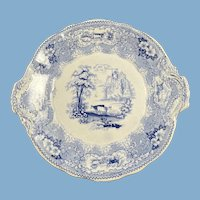 English Blue and White Transferware Plate  with Cows, Trees, Water and Buildings