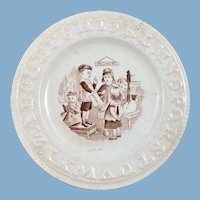 Children's Staffordshire Transferware Brown and White Plate, Spelling Bee