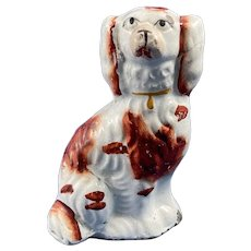 Antique Staffordshire Spaniel in White and Russet Colors