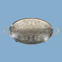 Chased English Silver Plate Footed Platter with Handles by Viners of Sheffield