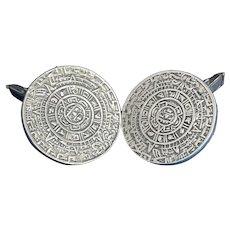 Mexican Silver Aztec Calendar Cuff Links