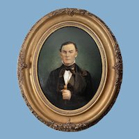 English Oil Painting of a Gentleman /Plaster of Paris Decorative Oval Frame