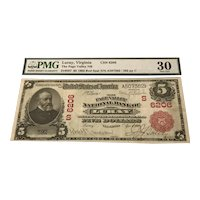 Luray Virginia Page Valley $5 National Bank Note Red Seal 1902 PMG 30 Very Fine