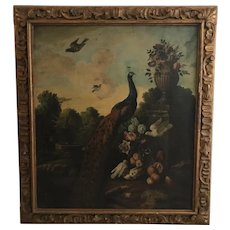 Manner of Melchior D'Hondecoeter (Dutch) Antique Peacock Oil on Canvas Painting