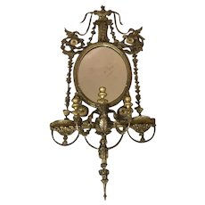 Antique George III Style Carved Gilt-Wood Regency Girandole Mirror