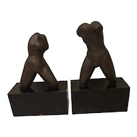 Carol Miller (1933) Pair of Female & Male Nude Torsos Bronze Sculpture