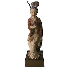 Antique Chinese Polychrome Carved Wooden Guanyin Sculpture Figural Table Lamp