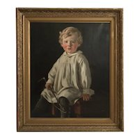 Carl Kricheldorf (German) Antique Portrait of a Young Boy Oil on Canvas Painting