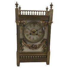 Antique J.E. Caldwell Gilt Bronze, Brass, & Bronze Mantle Clock as-is