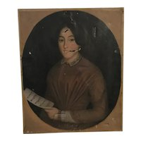 Antique 19th C. Portrait of Swedish Opera Singer Jenny Lind on Canvas Painting