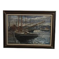 "John Charles Roach (20th C)""Outward Bound""Boats in Harbor Oil on Canvas Painting"