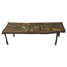 Smokey Tunis Painted Wood & Composite Folk Art Coffee Table