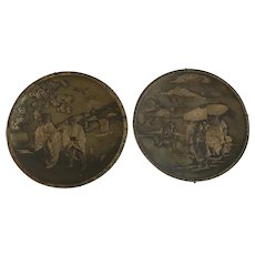 Pair of Antique Japanese Partial Gilt & Patinated Bronze & Mixed Metal Plates