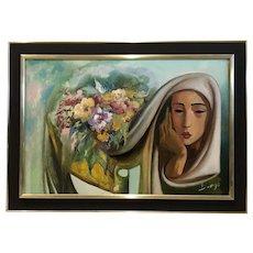 Antonio Diego Voci (Italian)Portrait of a Lady w/ Flowers Oil on Canvas Painting
