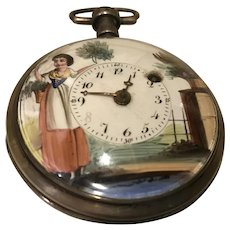 Antique Verge Fusee Pocket Watch with Hand Painted Face
