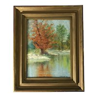 "Albert Pike Lucas (1862-1945) ""October"" Autumn Landscape Oil on Panel Painting"