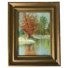 "Albert Pike Lucas (1862-1945) ""October"" Autumn Landscape Oil on Panel Painting"