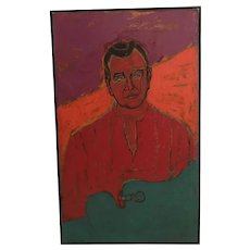 Stella Mertens (French) Portrait of Gerald Van Der Kemp Oil on Canvas Painting
