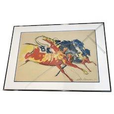 "Leroy Neiman (1921-2012) ""Into the Turn"" Horse Race Serigraph Print"