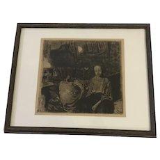 "Kathe Kollwitz (1867-1945) ""Junges Par"" (The Young Couple) Etching Print"