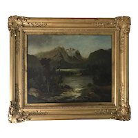 Antique 19th C. Twin Lakes Colorado Valley Landscape Oil on Canvas Painting