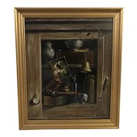 Robert H. White (1921-2008) Cupboard / Cabinet Still Life Oil on Panel Painting