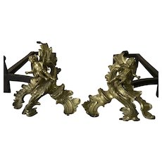 Pair of Antique Louis XV Style Ormolu Bronze Putti Figural Andirons / Chenets