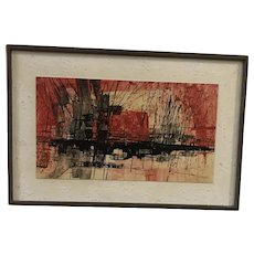 Pat Bowers (1937) Abstract Oil on Panel Painting