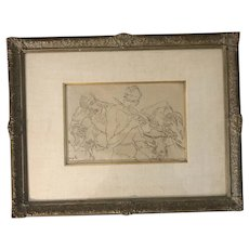 """Corrado Cagli (1910-1976) """"Orpheus"""" Portrait of Mythical Figures Pen & Ink Drawing"""