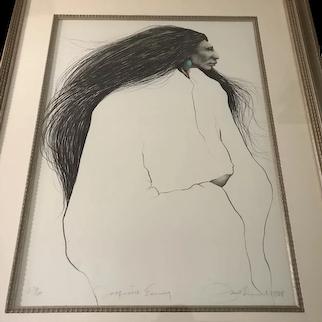 "Frank Howell (Lakota, 1937-1997) ""Turquoise Earring"" Lithograph Print"