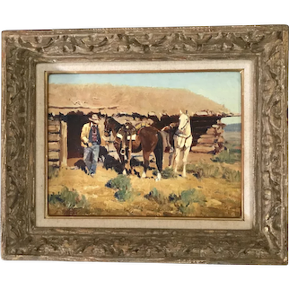 """Jim C Norton (1953) """"The Rock Well Cabin"""" Cowboy Oil on Board Painting"""