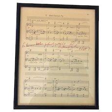 Vintage Leonard Bernstein Hand Signed Meditation Music Sheet