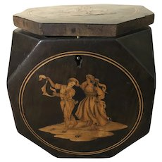 Antique English Marquetry Inlaid Mahogany Octagonal Tea Caddy
