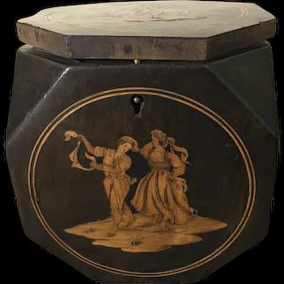 Antique English Marquetry Inlaid Mahogany Octagonal Tea Caddy