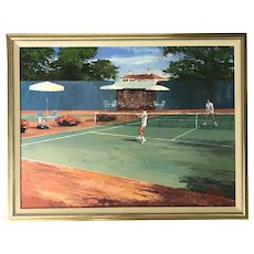 Mark King (1931-2014) Tennis Players Oil Canvas Painting
